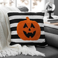 Black and White Striped Pumpkin Pillow