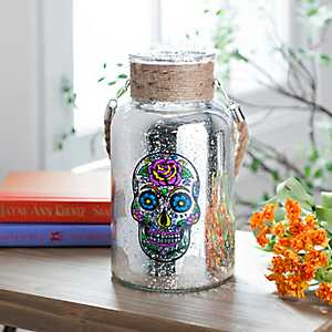 Sugar Skull Glass Lantern