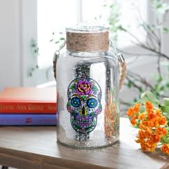 Sugar Skull Glass Lantern