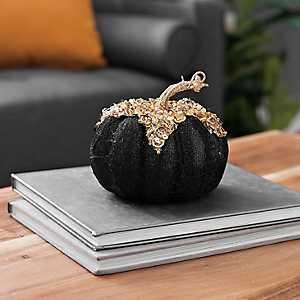 Black and Gold Glitter Pumpkin, 5.5 in.