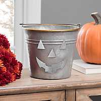 Galvanized Jack O' Lantern Bucket, 7.5 in.