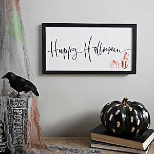 White and Black Happy Halloween Framed Print