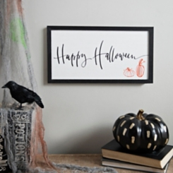 White and Black Happy Halloween Framed Print