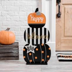 Stacked Pumpkins Standing Wooden Plaque