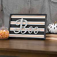 Boo Striped Framed Plaque