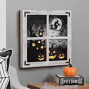 Halloween LED Scene Windowpane Wall Plaque