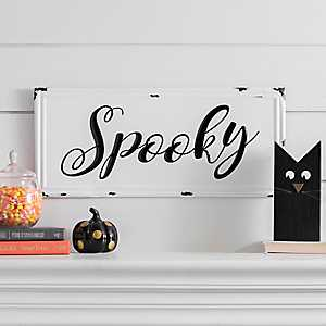 White and Black Spooky Metal Sign