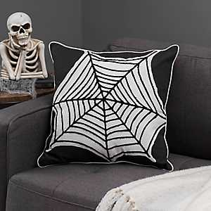 Black and White Spider Web Pillow