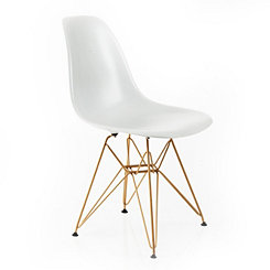White and Gold Mod Accent Chair
