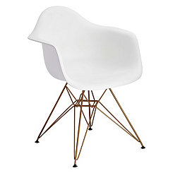White and Gold Mod Arm Chair
