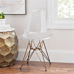 Clear and Gold Mod Accent Chair
