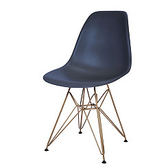 Navy and Gold Mod Accent Chair