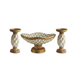 Gold Bowl and Candle Holders, Set of 3