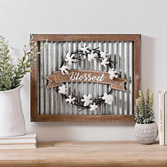 Blessed Cotton Wreath Galvanized Wall Plaque
