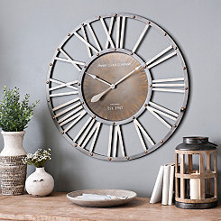 Round Metal Barrel Wall Clock, 35 in.