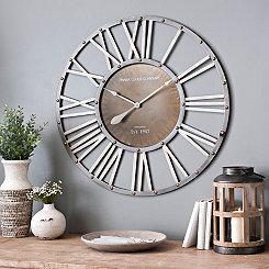 Round Metal Barrel Wall Clock, 35 in.