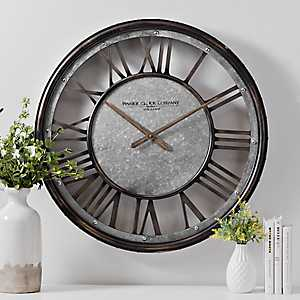 Nathan Galvanized Metal Wall Clock