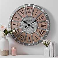 Galvanized Metal with Studs and Linen Wall Clock