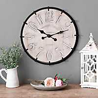 Carved Wood and Iron Wall Clock