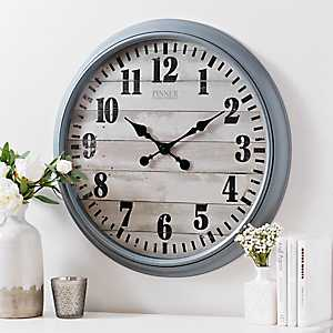 Round Gray Shiplap Wall Clock