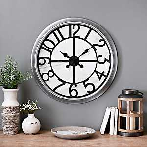 Round Spencer Marble Design Wall Clock