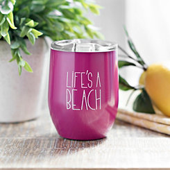 Pink Life's a Beach Wine Tumbler