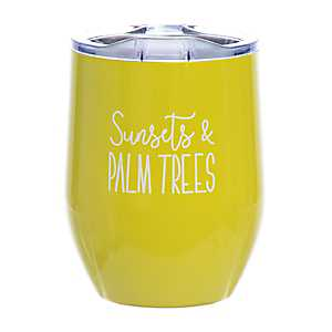 Yellow Sunsets and Palm Trees Wine Tumbler