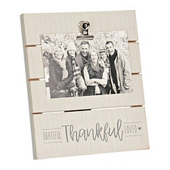 Grateful Thankful Loved Frame with Clip, 4x6