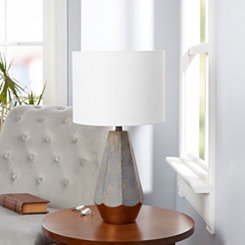 Gray Rustic Prism Table Lamp