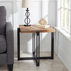Drake Wood and Metal Square Accent Table