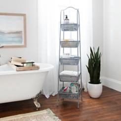 Gray Metal Baskets Tower Storage Shelf