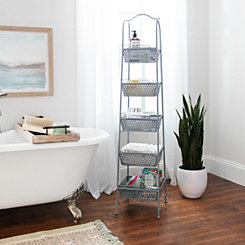 Gray Metal Baskets Tower Storage Shelf