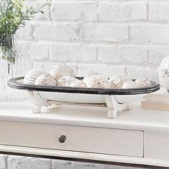 White Metal Bowl with Dark Wood Rim