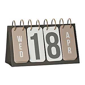 Gray and Gold Metal Flip Calendar