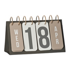 Gray and Gold Metal Flip Calendar