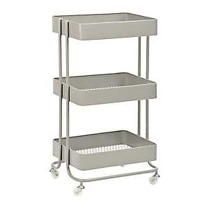 Gray Rolling Cart with 3 Mesh Trays