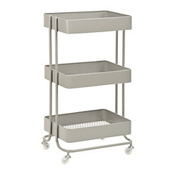 Gray Rolling Cart with 3-Mesh Trays