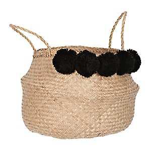 Black Pom Pom Woven Basket
