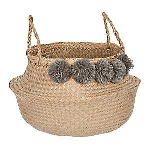 Gray Pom Pom Woven Basket