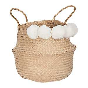 White Pom Pom Woven Basket