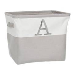 Gray Traditional A Monogram Storage Bin