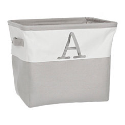 Gray Traditional A Monogram Storage Bin