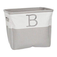 Gray Traditional B Monogram Storage Bin