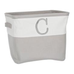 Gray Traditional C Monogram Storage Bin