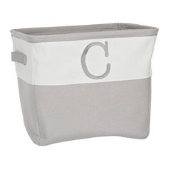 Gray Traditional C Monogram Storage Bin