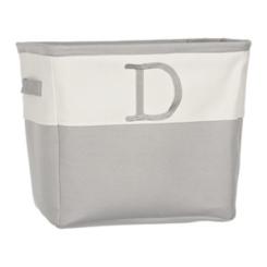 Gray Traditional D Monogram Storage Bin