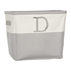 Gray Traditional D Monogram Storage Bin