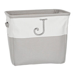 Gray Traditional J Monogram Storage Bin