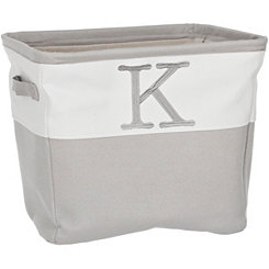 Gray Traditional K Monogram Storage Bin