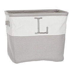 Gray Traditional L Monogram Storage Bin